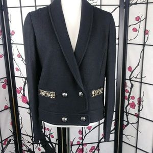 LOFT Jeweled Wool Blend Double Breasted Jacket